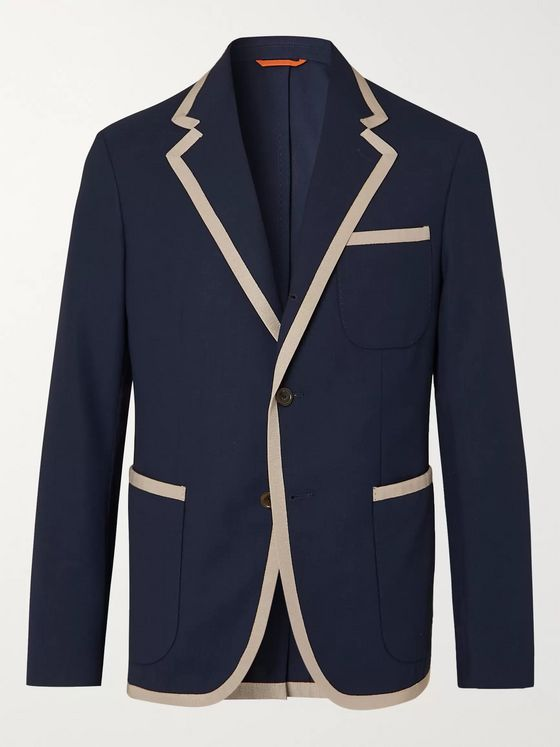 Tod's Unstructured Contrast-Tipped Virgin Wool Blazer
