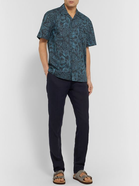 Tod's Camp-Collar Printed Cotton Shirt