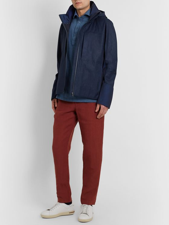 Sease George Panelled Linen and Wool and Nylon-Blend Hooded Jacket