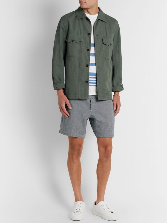 Mr P. Striped Cotton-Twill Shorts