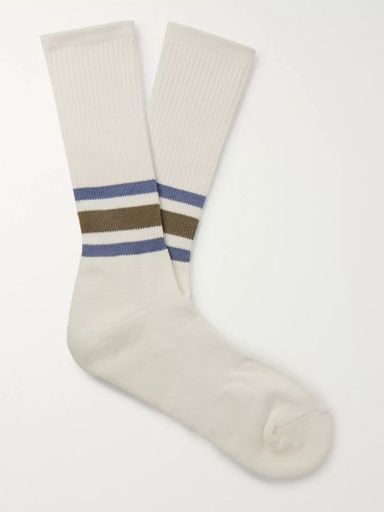 Anonymous Ism Ribbed Striped Cotton-Blend Socks