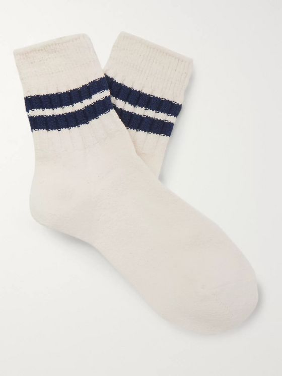 Anonymous Ism Striped Cotton-Blend Socks
