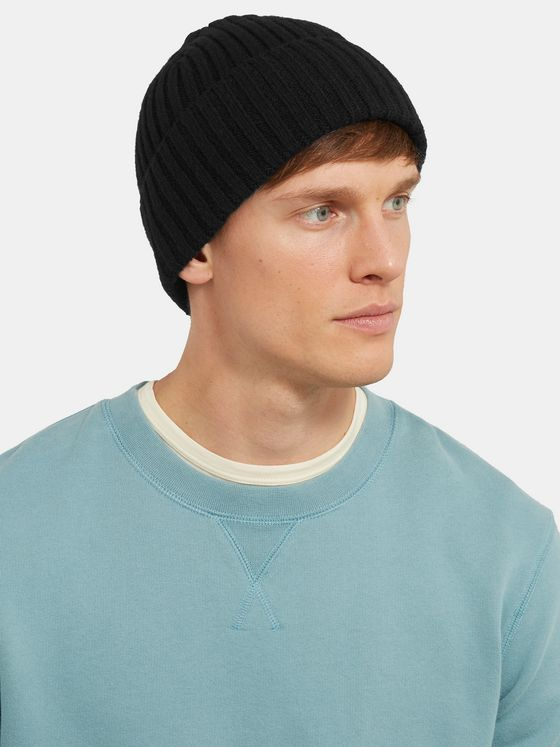 Sunspel Ribbed Wool Beanie