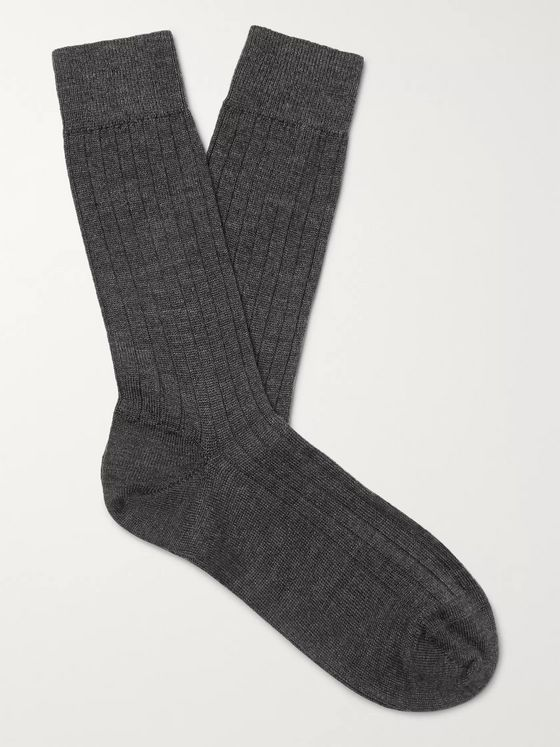 Sunspel Ribbed Merino Wool Socks