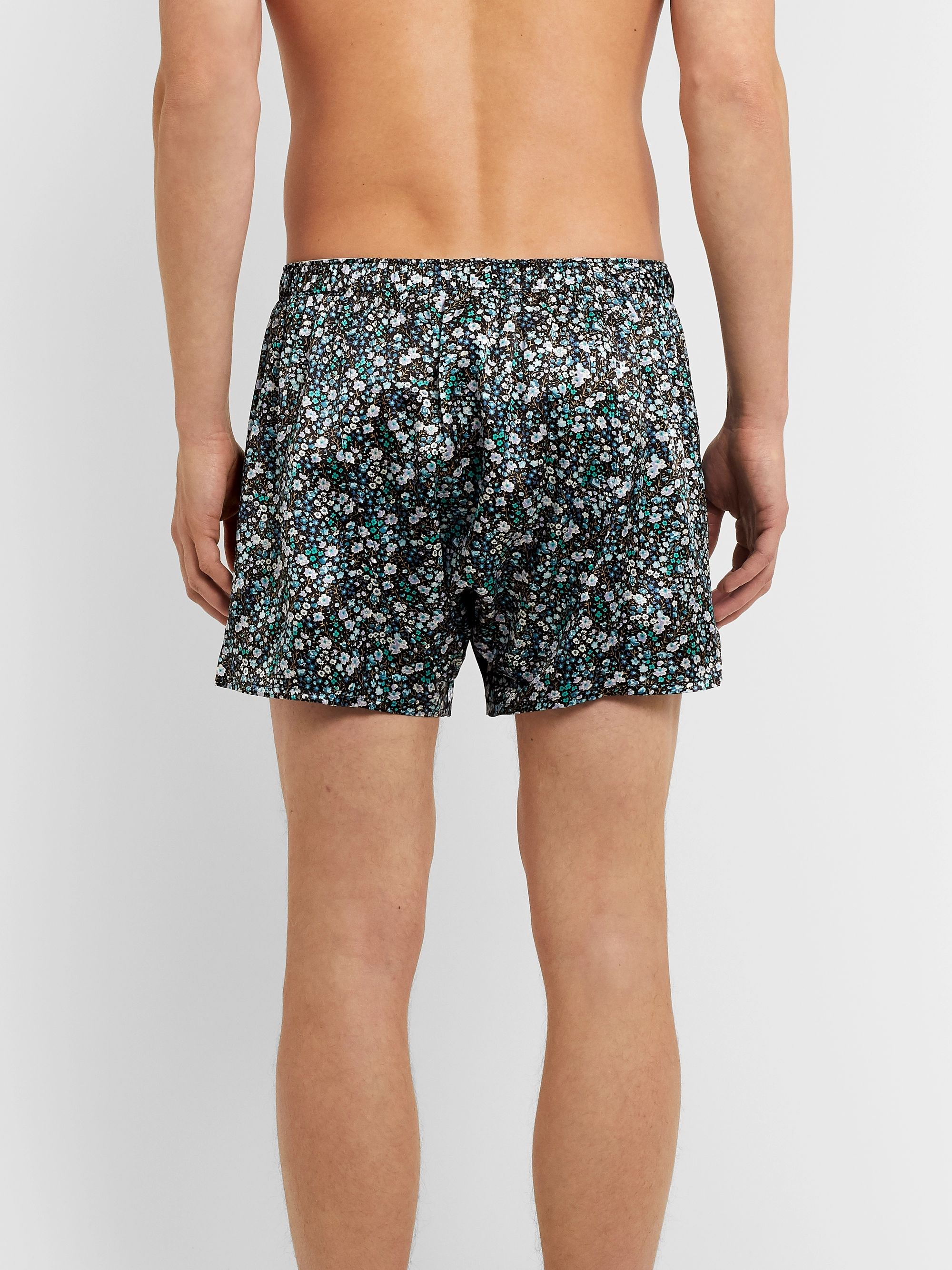 Sunspel Printed Silk-Satin Boxer Shorts