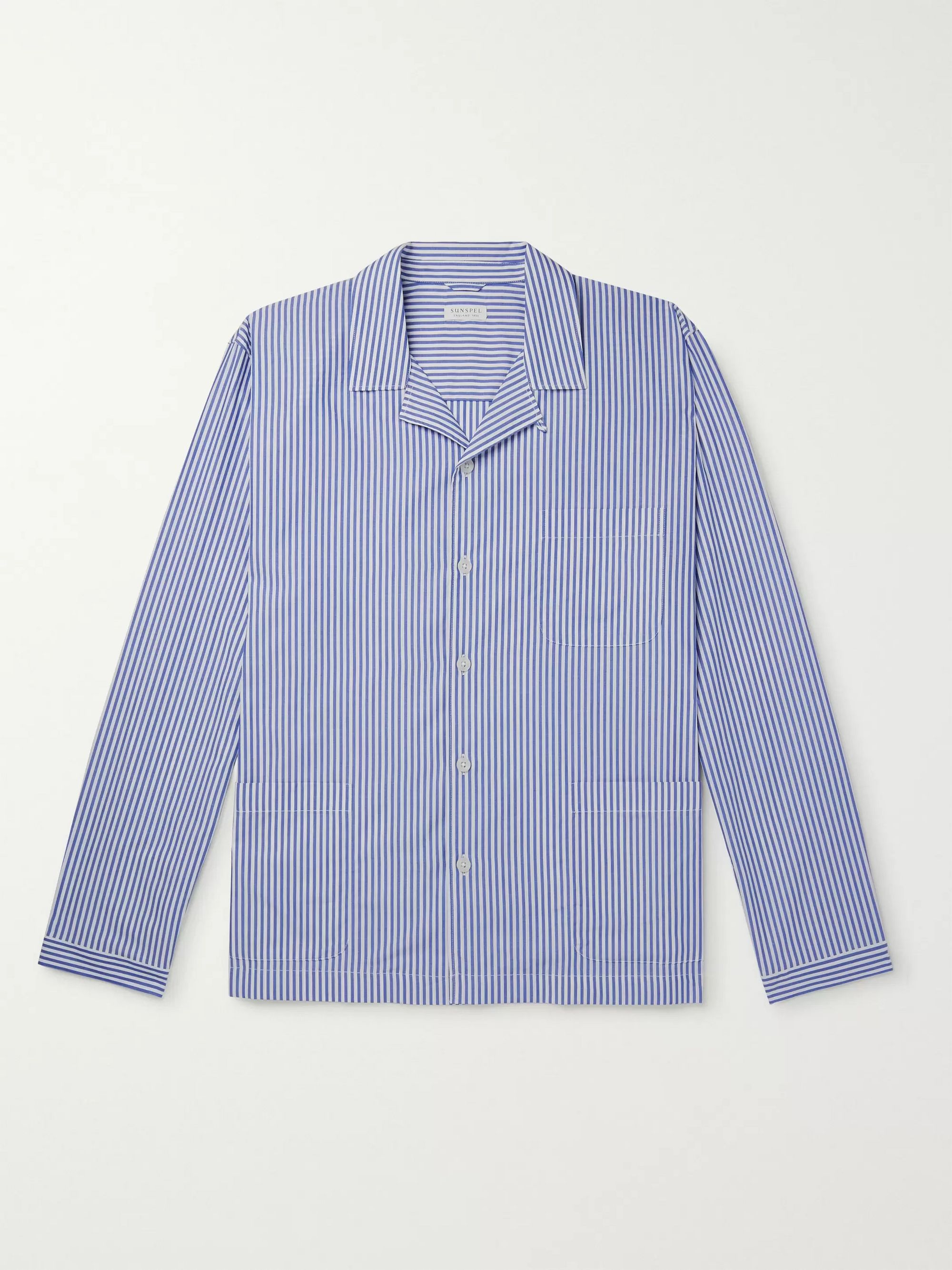 Sunspel Striped Cotton-Poplin Pyjama Shirt