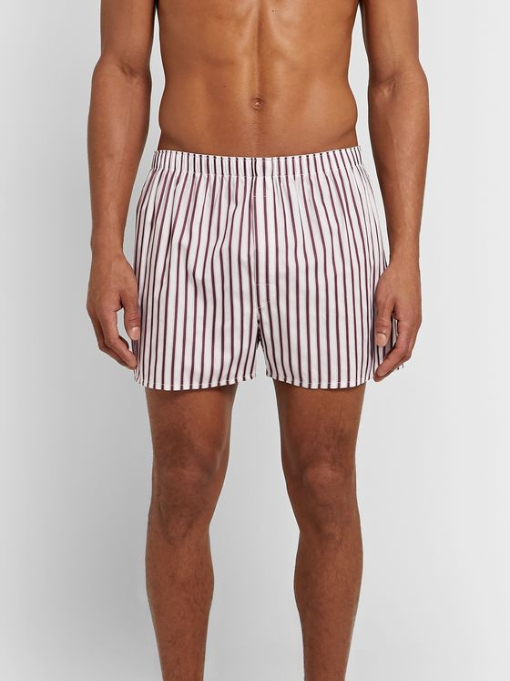 Sunspel Striped Cotton Boxer Shorts