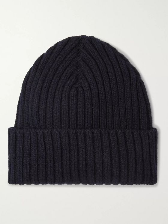 Sunspel Ribbed Mélange Wool Beanie
