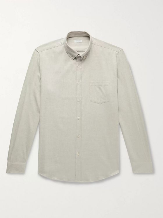 Sunspel Button-Down Collar Brushed Cotton-Flannel Shirt