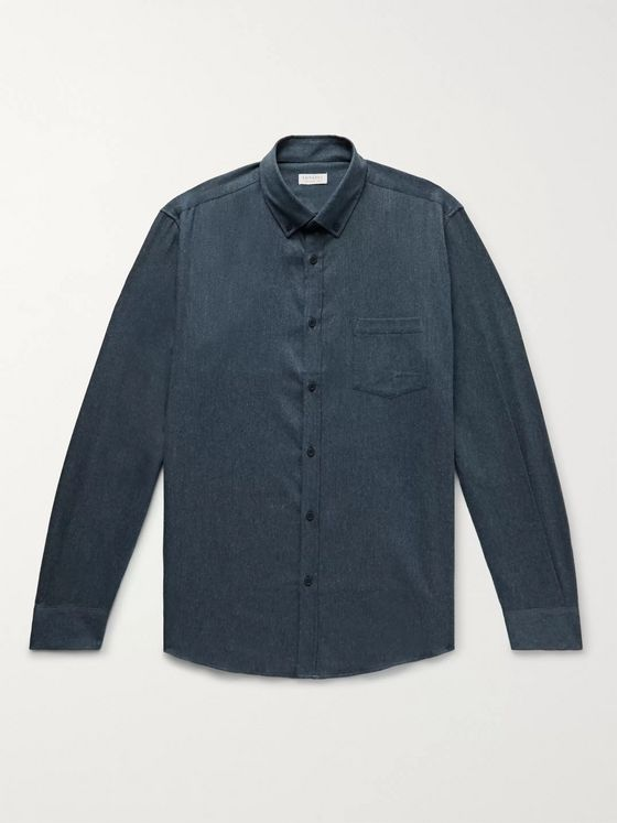 Sunspel Button-Down Collar Mélange Brushed Cotton-Flannel Shirt