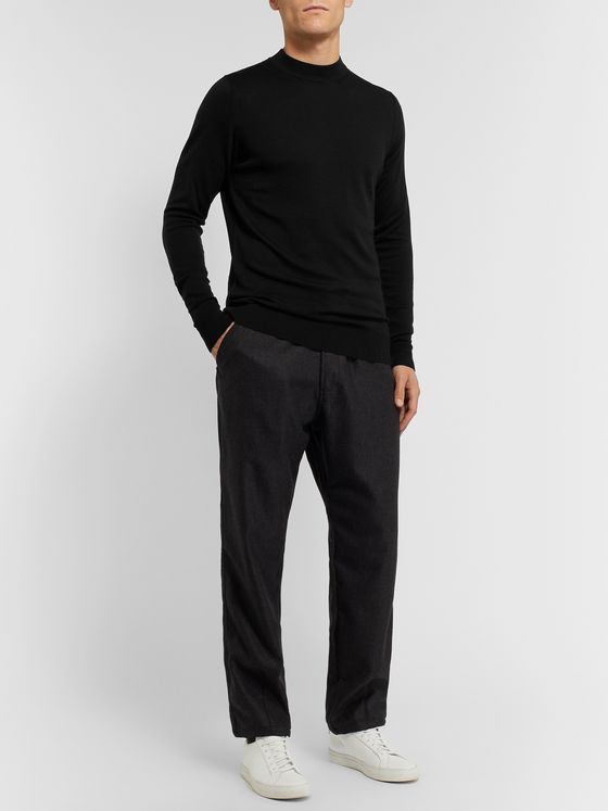 Sunspel Slim-Fit Merino Wool Mock-Neck Sweater