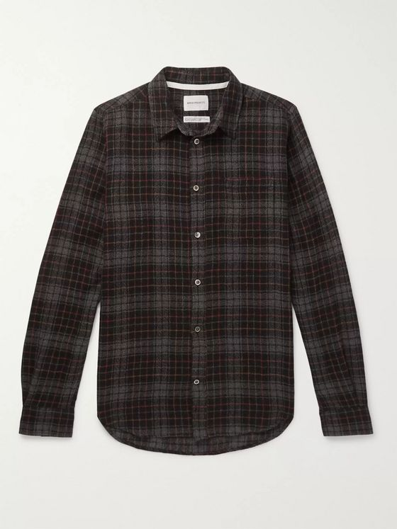 Norse Projects Osvald Checked Wool-Gauze Shirt