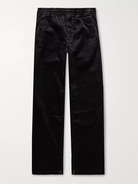 Norse Projects Charcoal Evald Cotton-Corduroy Drawstring Trousers
