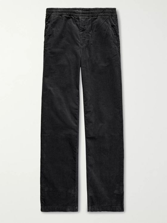 Norse Projects Black Evald Cotton-Corduroy Drawstring Trousers