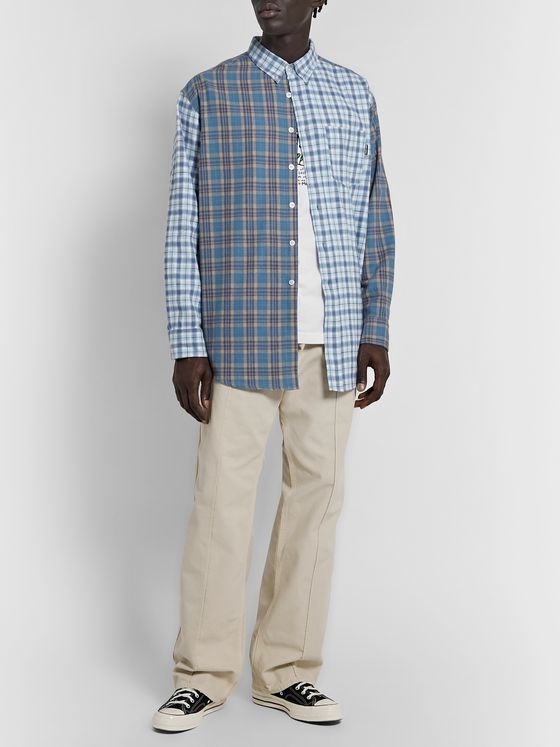 Noon Goons Button-Down Collar Panelled Checked Cotton-Flannel Shirt