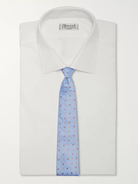 Turnbull & Asser 9.5cm Embroidered Silk and Linen-Blend Tie