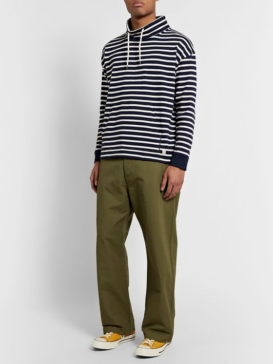Armor Lux Striped Mock-Neck Cotton-Jersey Sweatshirt