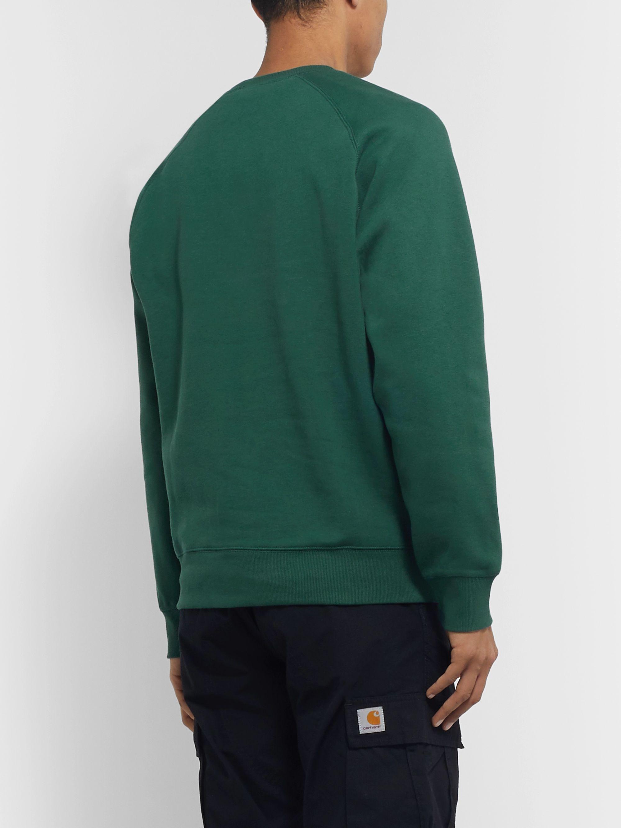 Chase Logo Embroidered Fleece Back Cotton Jersey Sweatshirt