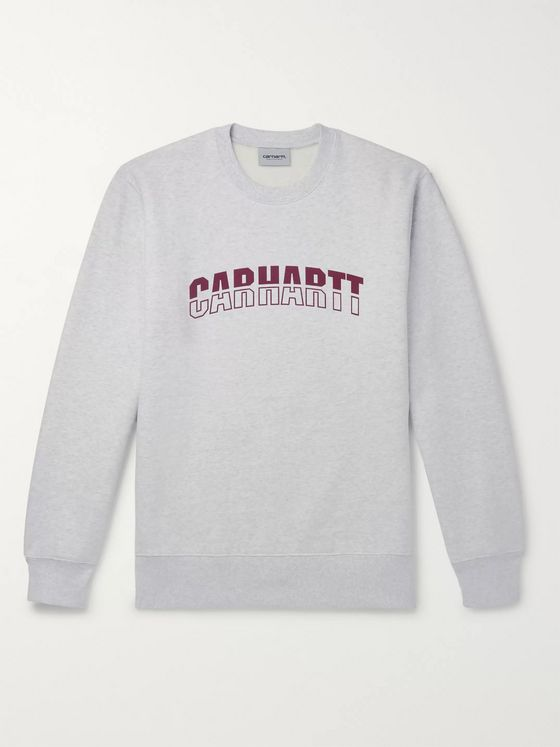 Carhartt WIP District Logo-Print Mélange Fleece-Back Cotton-Blend Jersey Sweatshirt