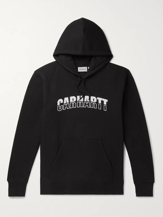 Carhartt WIP District Logo-Print Fleece-Back Cotton-Blend Jersey Hoodie