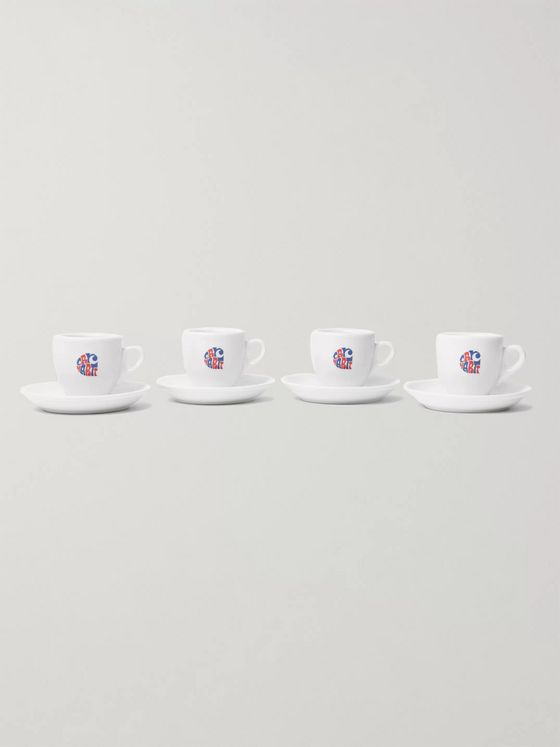 Carhartt WIP Clearwater Set of Four Logo-Print Porcelain Espresso Cups