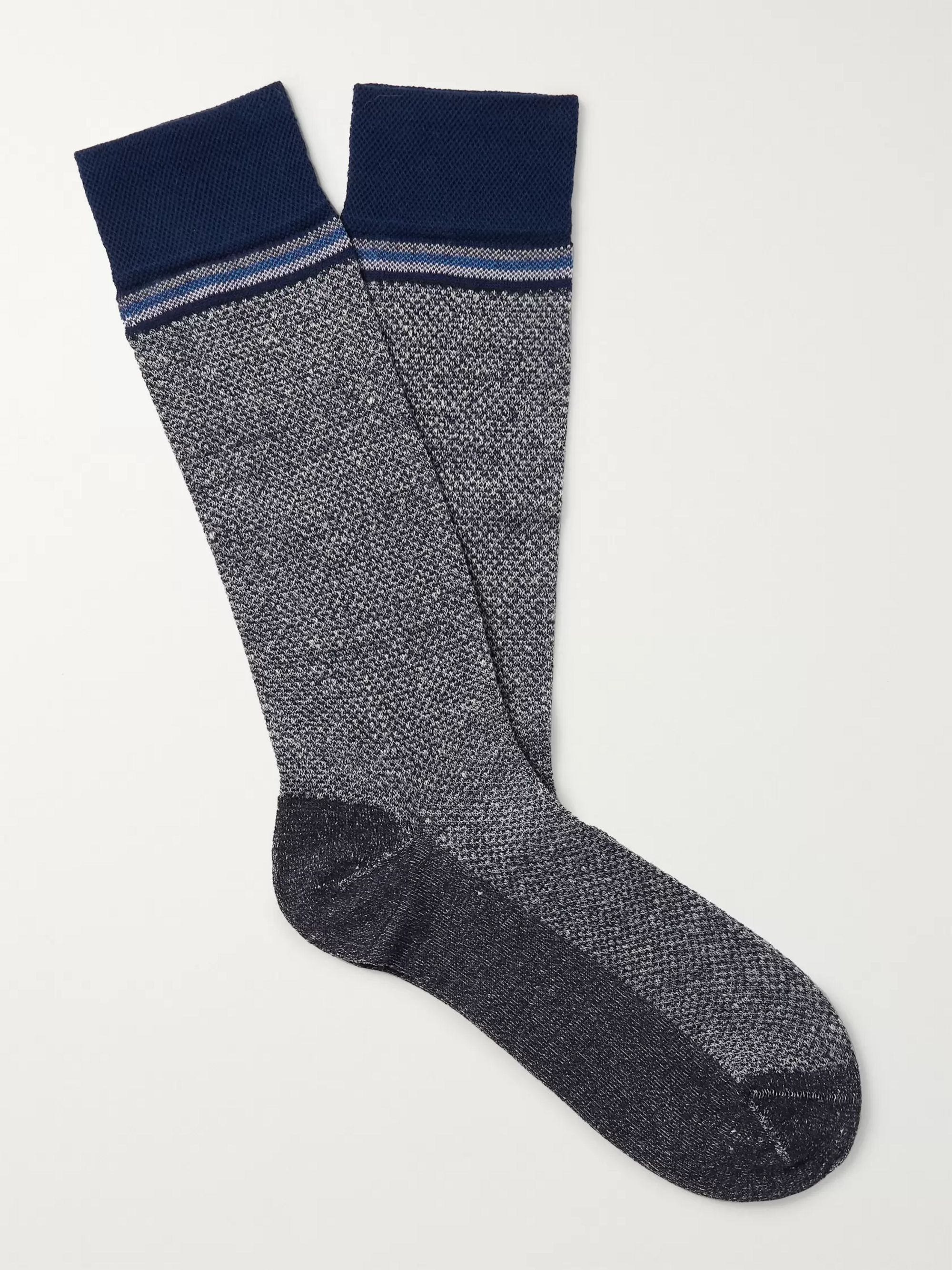 Marcoliani Striped Textured Mélange Stretch-Knit Socks