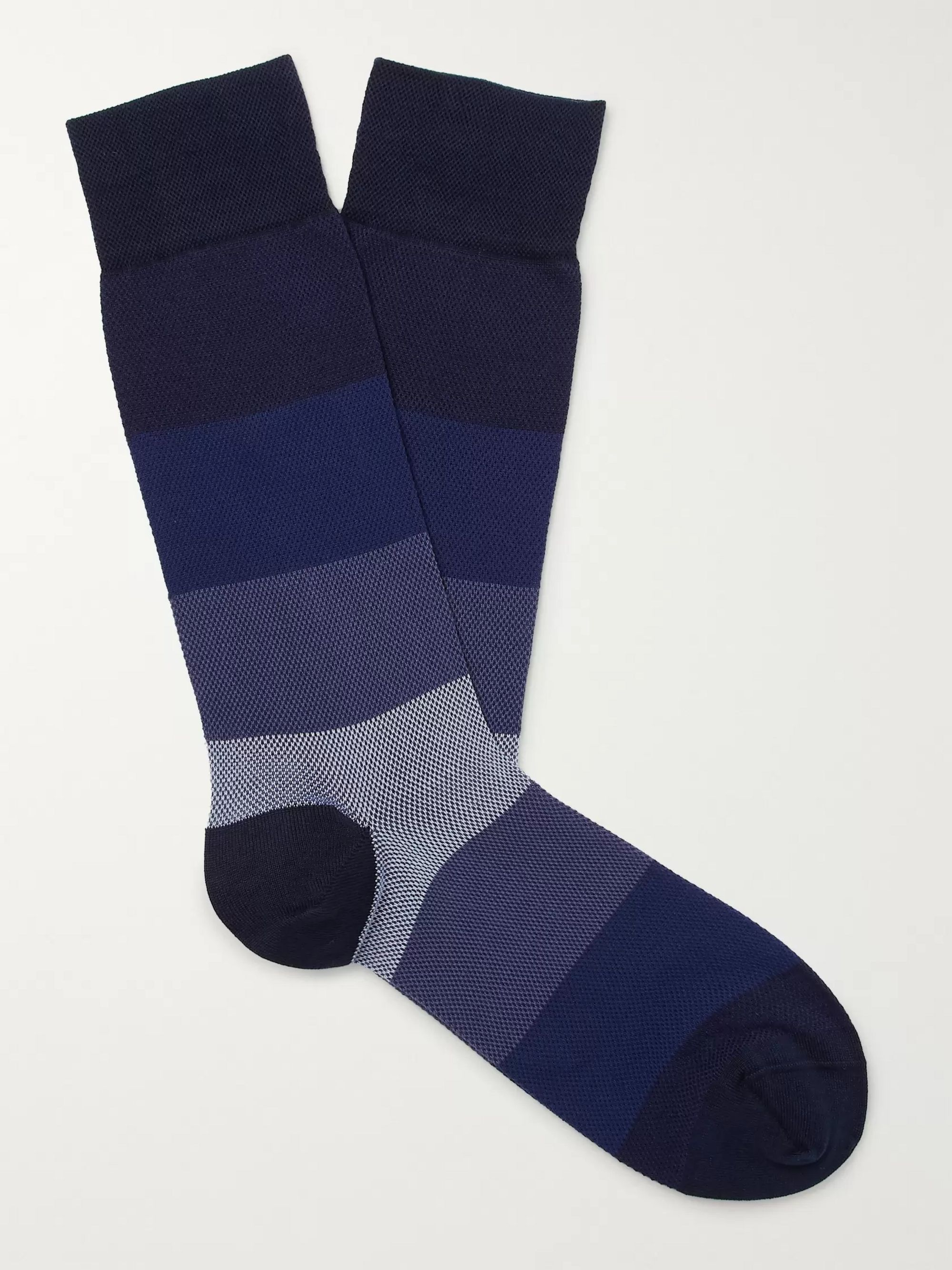 Marcoliani Striped Textured Pima Cotton-Blend Piqué Socks