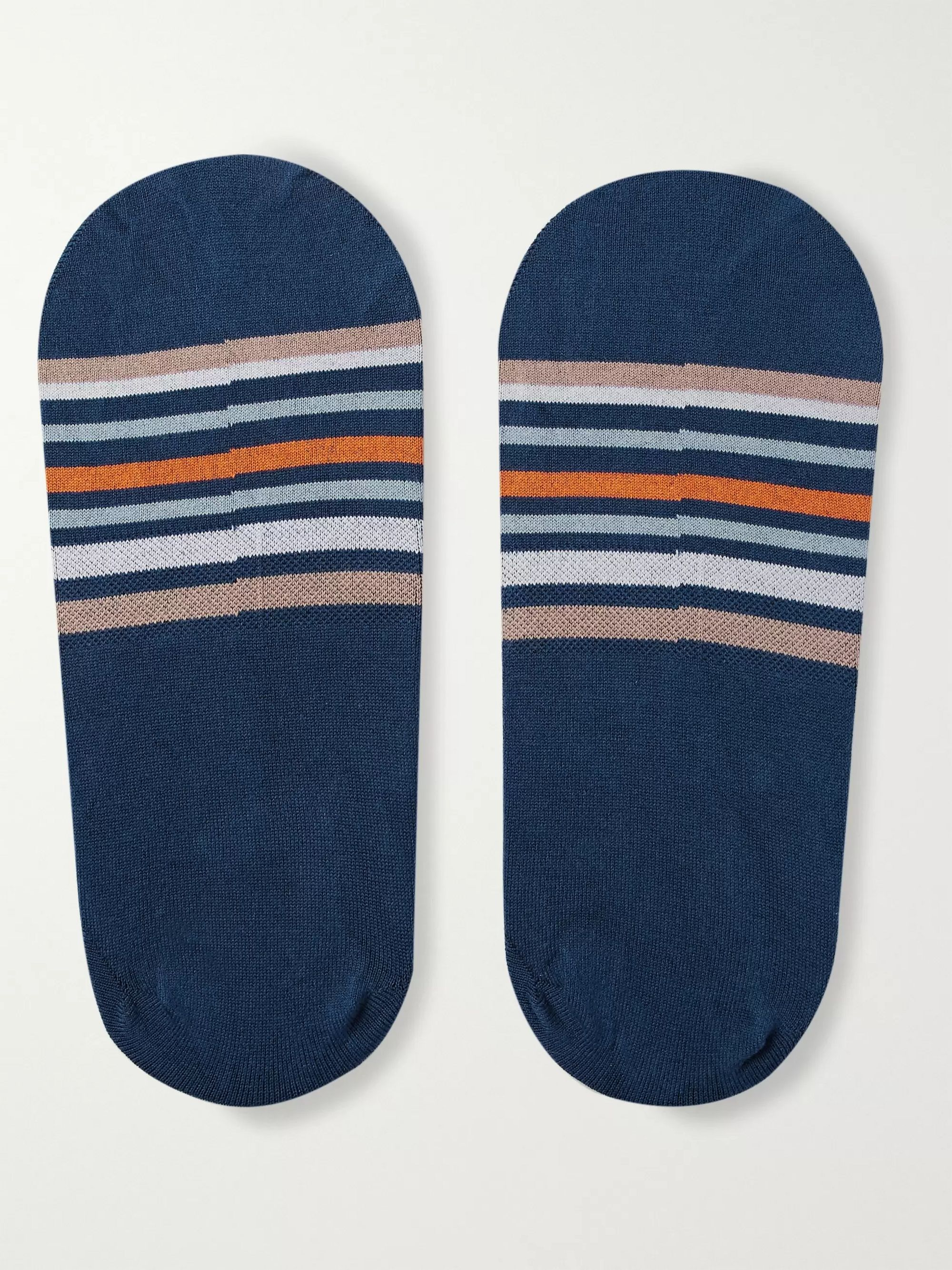 Marcoliani Invisible Touch Striped Stretch Cotton-Blend No-Show Socks