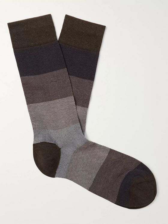 Marcoliani Striped Textured Pima Cotton-Blend Socks