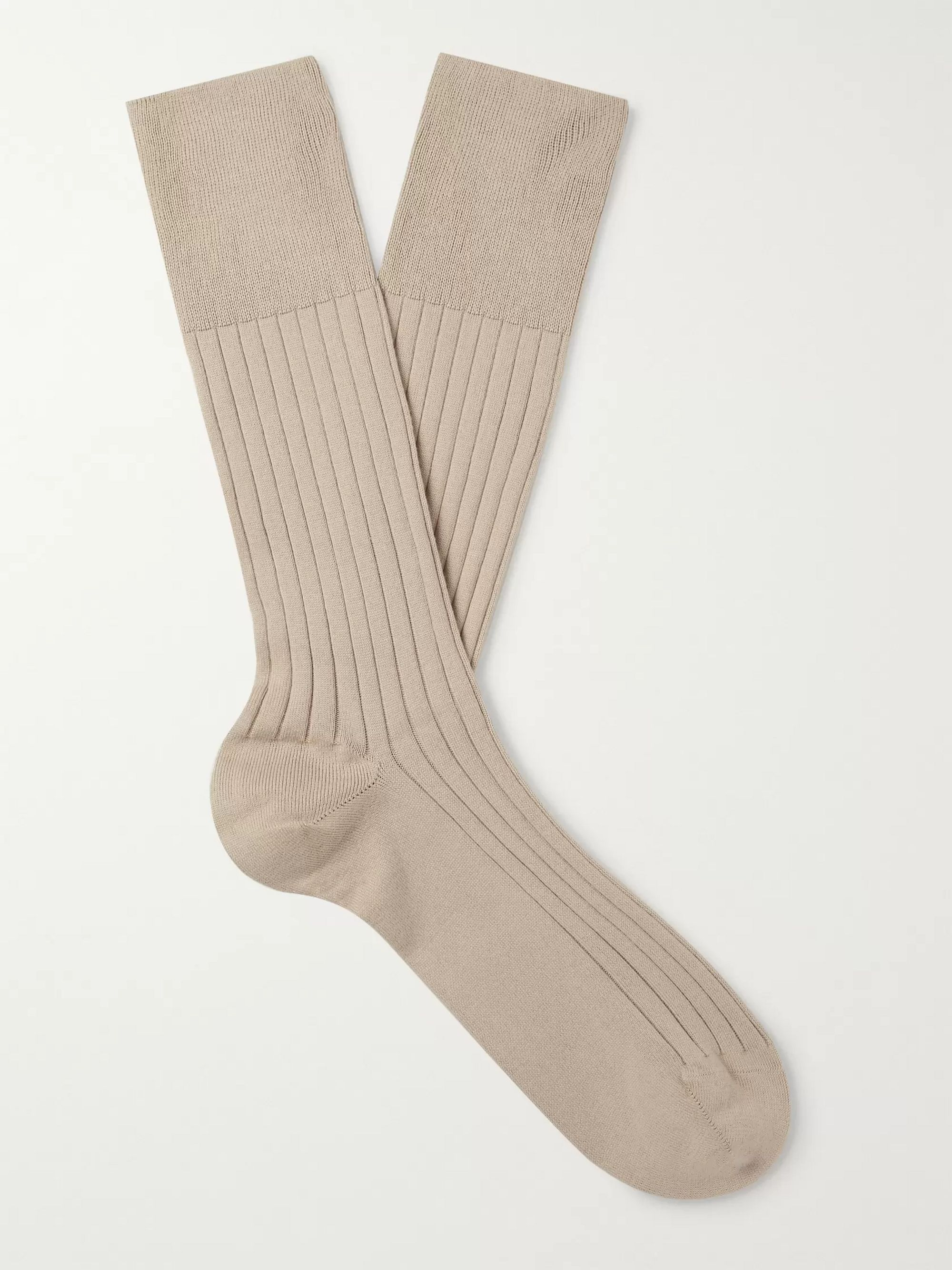 Marcoliani Ribbed Pima Cotton-Blend Socks