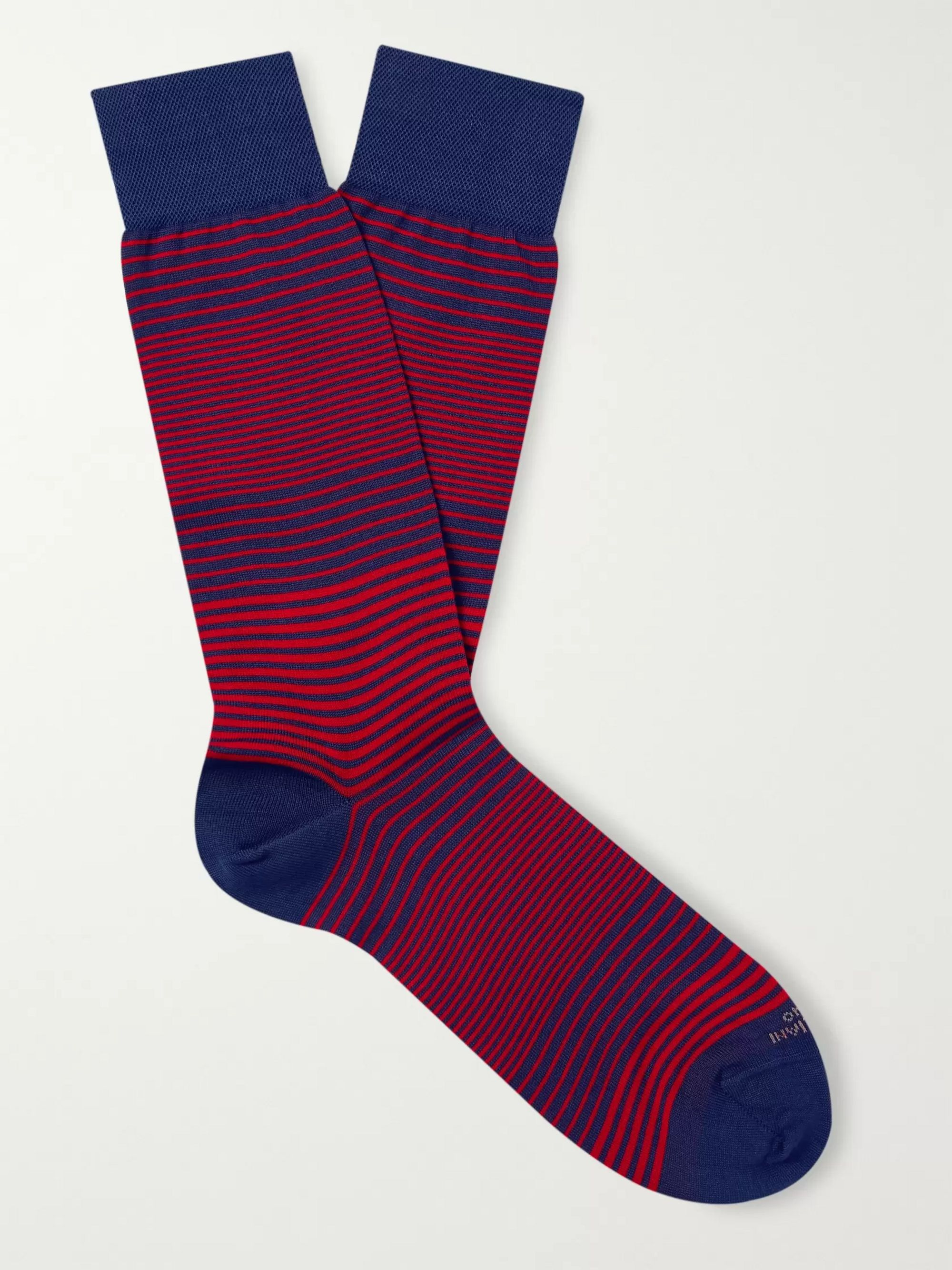Marcoliani Marina Striped Cotton-Blend Socks