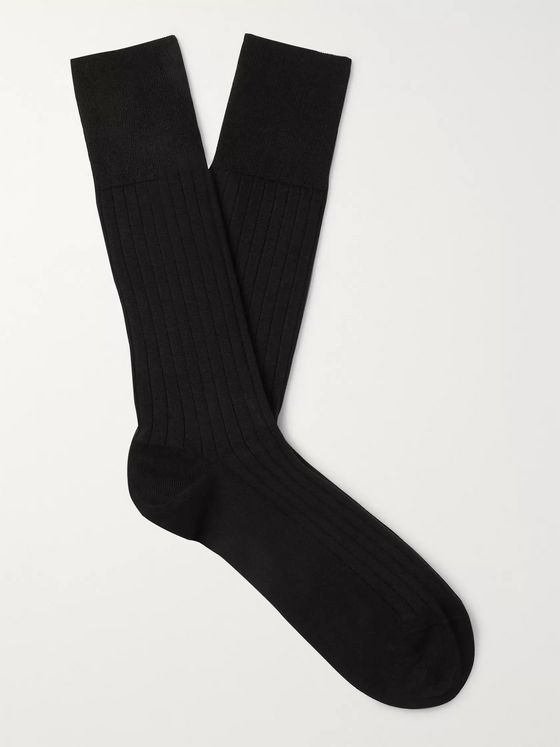 Marcoliani Ribbed Cotton-Blend Socks