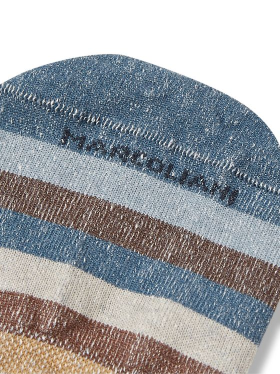 Marcoliani Invisible Touch Striped Stretch Linen-Blend No-Show Socks