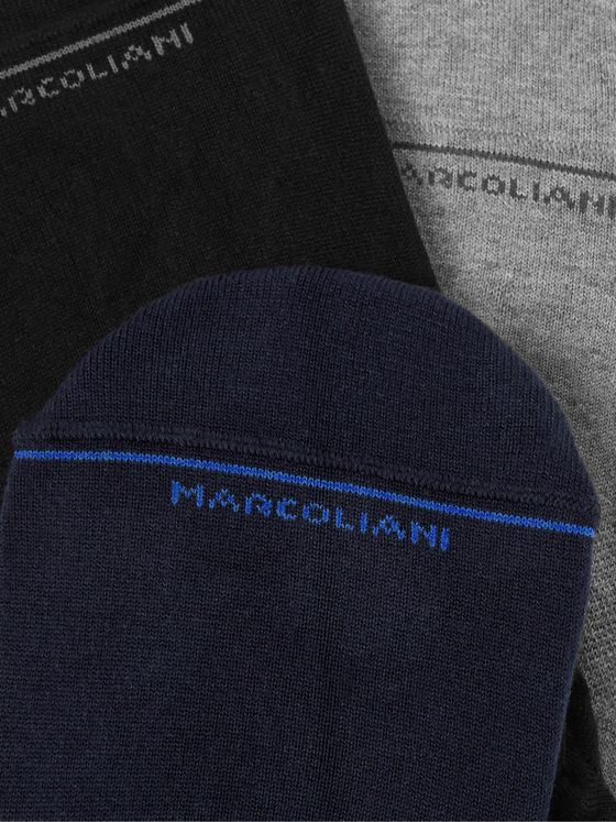 Marcoliani Three-Pack Stretch Cotton-Blend No-Show Socks