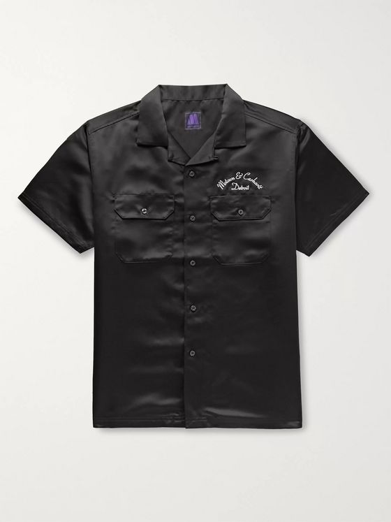 Carhartt WIP + Motown Records Camp-Collar Logo-Embroidered Satin Shirt