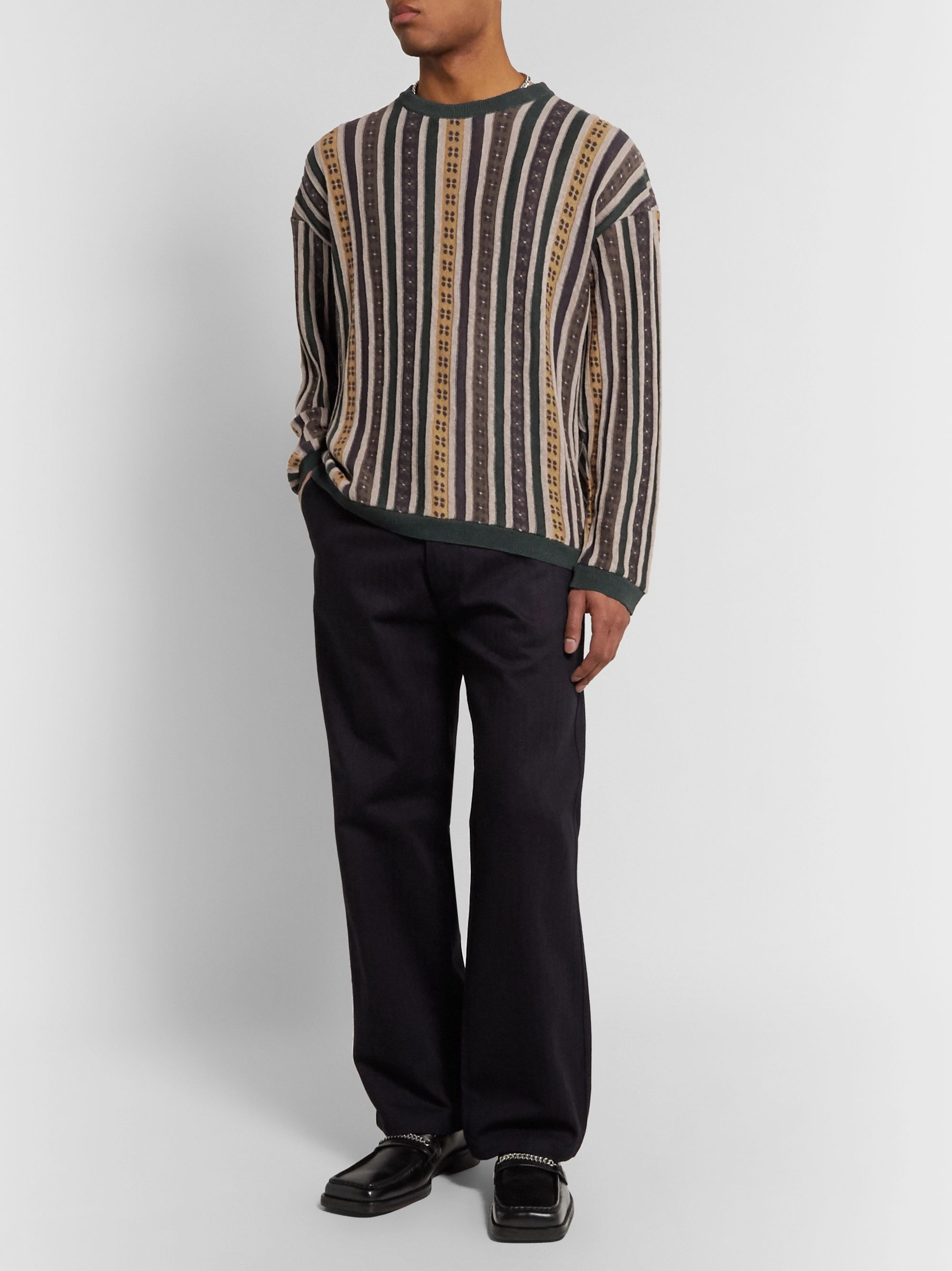Our Legacy Sonar Striped Intarsia Linen Sweater