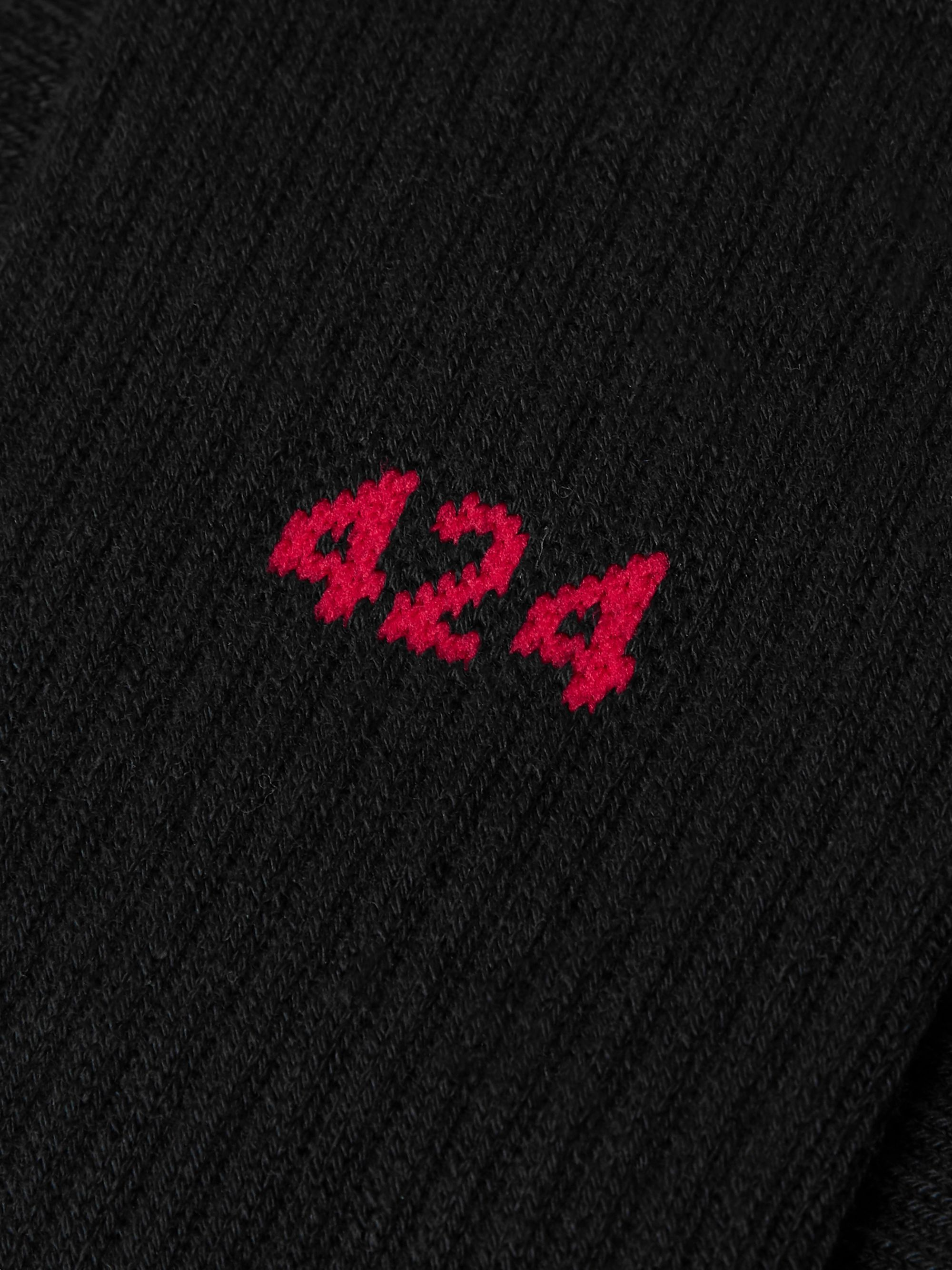 424 Logo-Intarsia Ribbed Stretch Cotton-Blend Socks