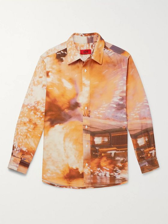 424 Printed Cotton-Twill Overshirt