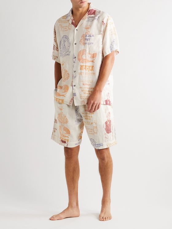 Desmond & Dempsey Camp-Collar Printed Organic Cotton Pyjama Shirt