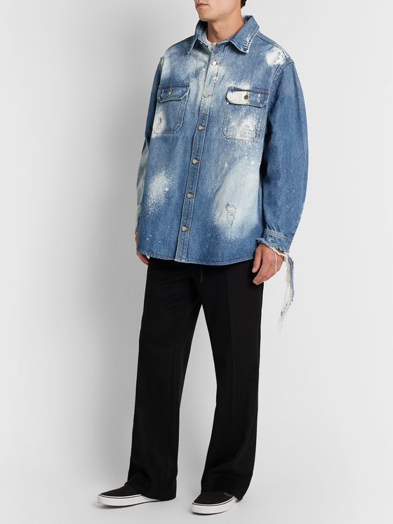 424 Oversized Distressed Bleached Denim Shirt