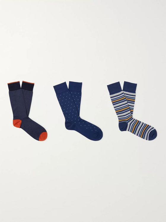 Marcoliani Three-Pack Ribbed Cotton-Blend Socks
