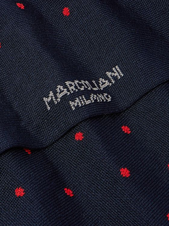 Marcoliani Polka-Dot Cotton-Blend Socks