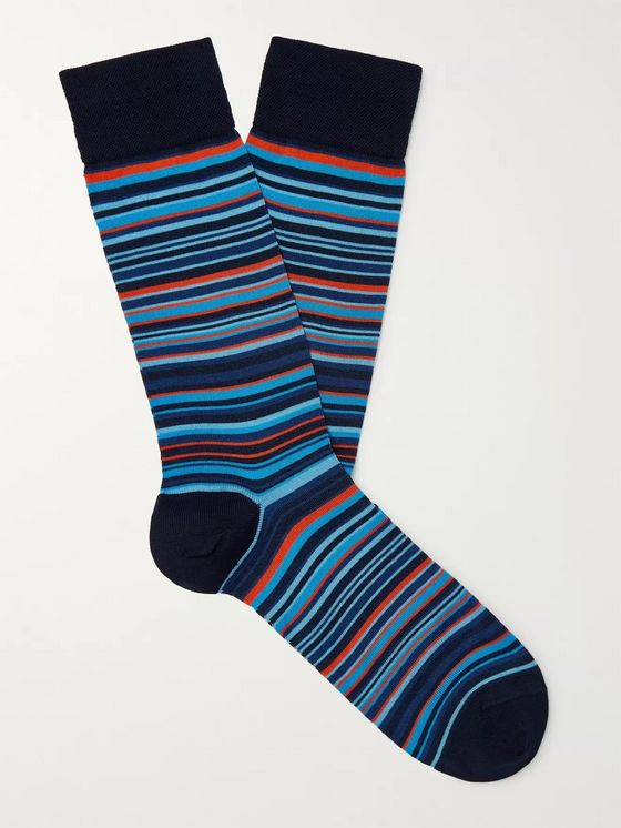 Marcoliani Striped Cotton-Blend Socks