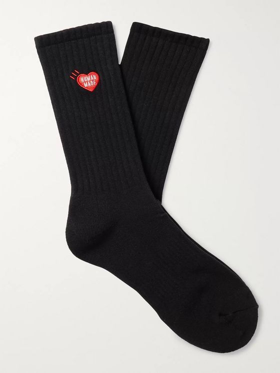 Human Made Logo-Embroidered Ribbed Cotton-Blend Socks