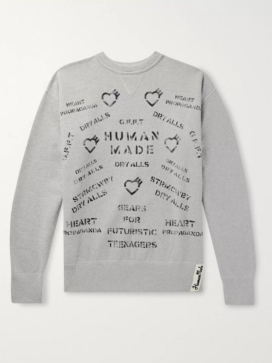 Human Made Logo-Appliquéd Printed Mélange Fleece-Back Cotton-Jersey Sweatshirt