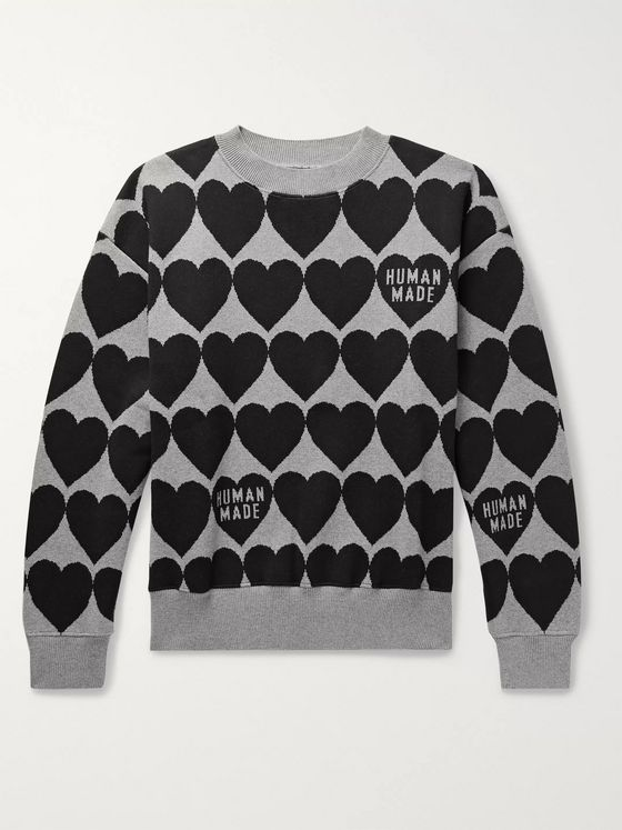 Human Made Logo-Jacquard Cotton Sweater