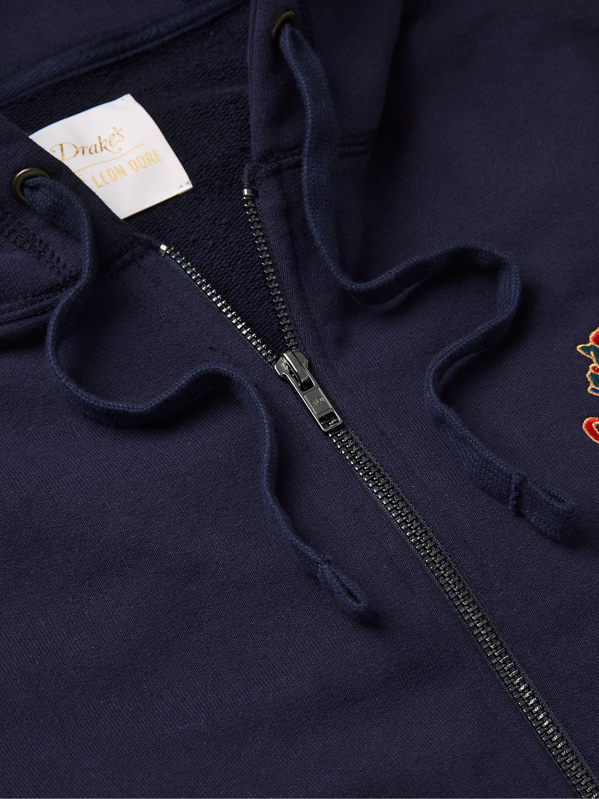 Aimé Leon Dore + Drake's Logo-Embroidered Loopback Cotton-Jersey Zip-Up Hoodie