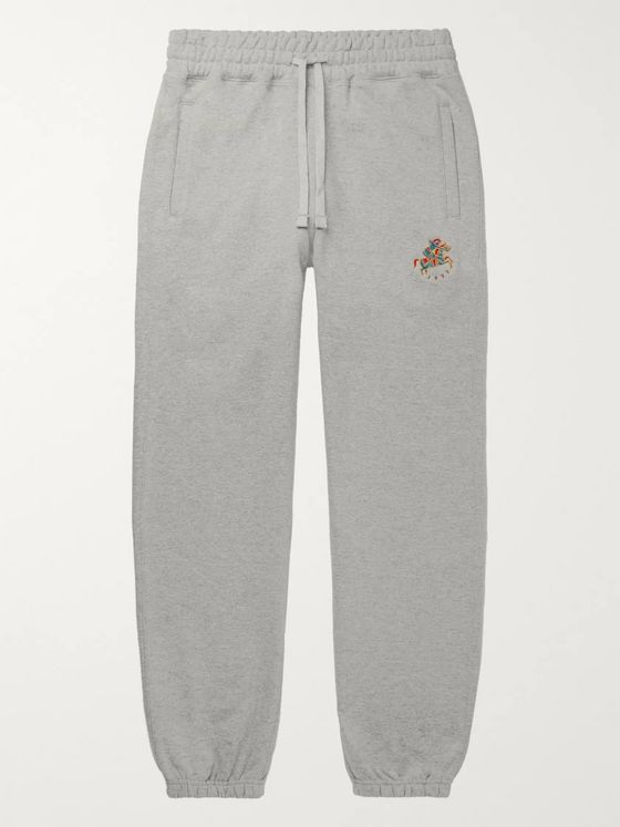 Aimé Leon Dore + Drake's Logo-Embroidered Loopback Cotton-Jersey Sweatpants