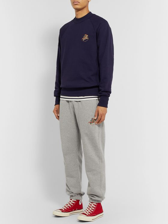 Aimé Leon Dore + Drake's Logo-Embroidered Loopback Cotton-Jersey Sweatshirt