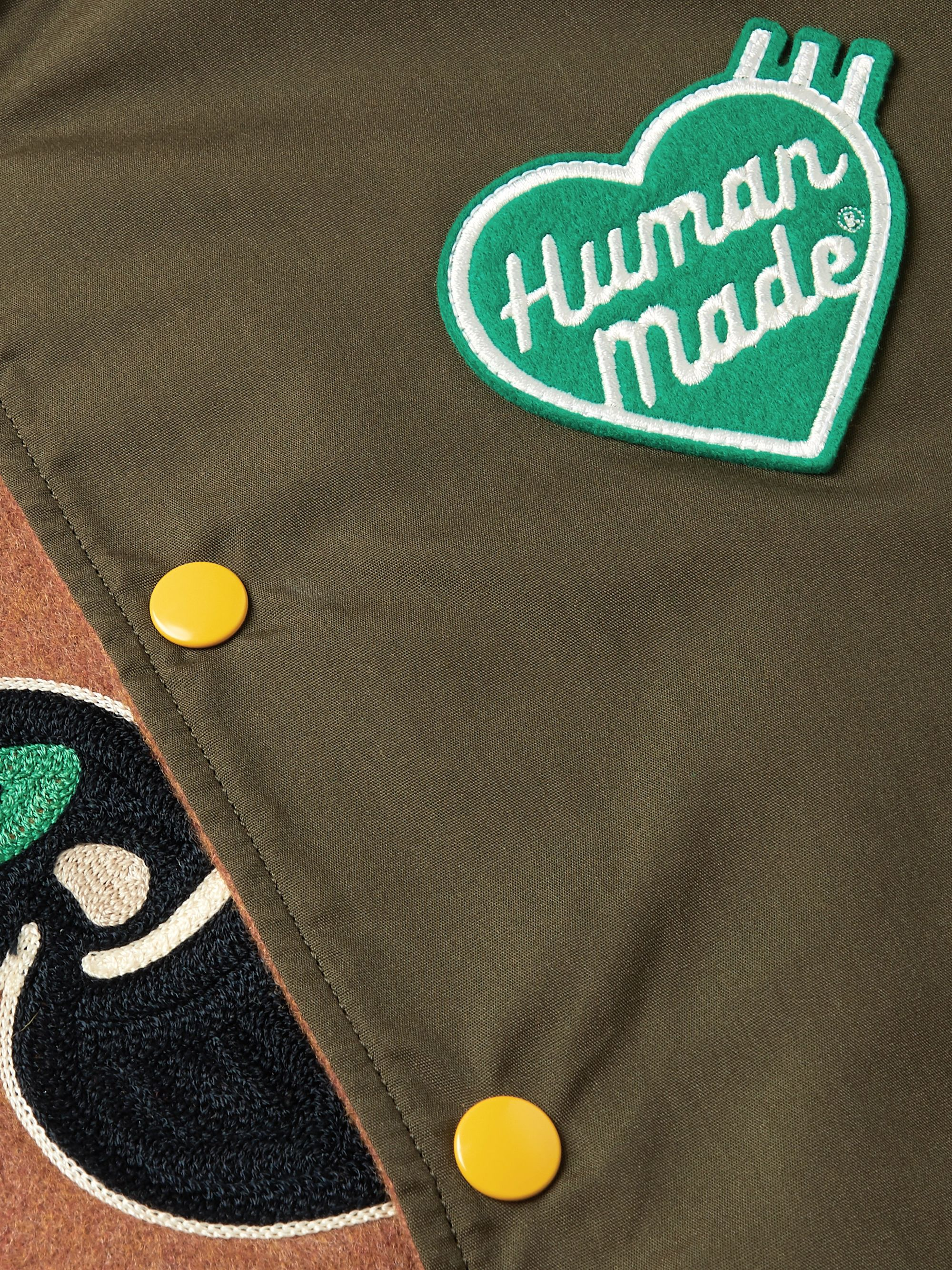 Human Made Reversible Leather-Trimmed Logo-Appliquéd Melton Wool-Blend and Satin Bomber Jacket